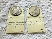 EARLY 1898 S MORGAN  CIRCULATED  & 1921 MORGAN IN AU PAIR  90  SILVER LOW START