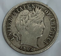 1902-S SAN FRANCISCO MINT SILVER BARBER DIME VF FULL LIBERTY ON CROWN  COIN