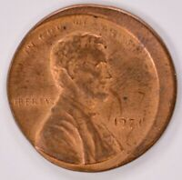 1C 1971 LINCOLN CENT STRUCK 10  OFF CENTER UNC RED/BROWN