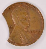 1C 1958 WHEAT CENT 18  DOUBLE CURVED CLIP UNC BROWN