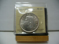 1949  CANADA  SILVER ONE DOLLAR  COIN   1$    I.C.C.S.   GRADED   MS 64