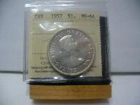 1957  CANADA  SILVER ONE DOLLAR  COIN   1$    I.C.C.S.   GRADED   MS 64