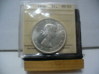 1958  CANADA  SILVER ONE DOLLAR  COIN   1$    I.C.C.S.   GRADED   MS 63