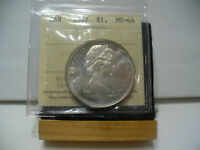 1967  CANADA  SILVER ONE DOLLAR  COIN   1$    I.C.C.S.   GRADED   MS 64