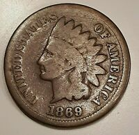 1869 INDIAN HEAD ONE CENT COIN