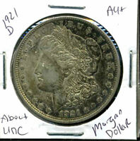 1921 D AU MORGAN DOLLAR 90 SILVER COIN ABOUT UNCIRCULATED COMBINE SHIP$1 WC836