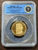 2012-S PRESIDENTIAL DOLLAR HARRISON ANACS PR70 DCAM FIRST STRIKE PROOF