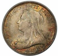 GREAT BRITAIN VICTORIA 6 PENCE 1893 PCGS MS66 BEAUTIFUL GOLDEN TONING
