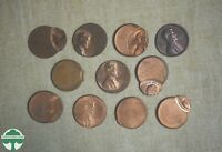 LOT OF 11 OFF CENTER LINCOLN CENTS   3  98    COOL LOT