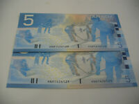LOT OF 2  2002   CANADA  FIVE  5 $  DOLLAR BILL  2002  SEE PHOTOS  120 121
