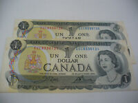 LOT OF 2  1973   CANADA ONE 1 $  DOLLAR BILL  1973  SEE PHOTOS  120 121
