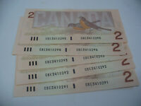 LOT OF 5  1986   CANADA TWO 2 $  DOLLAR BILL  1986   IN SEQUENCE  291 295
