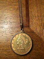 1881 $10 LIBERTY HEAD GOLD COIN NECKLACE