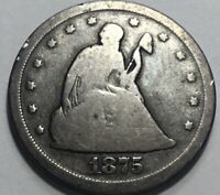1875 S 20C PIECE FULL RIM ON OBVERSE  2 YEAR TYPE COIN
