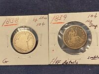 1838 1839 SEATED LIBERTY DIME SILVER 2 COINS G & FINE LRG ST