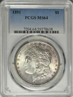 1891 $1 PCGS MINT STATE 64 PQ NEAR GEM UNCIRCULATED UNC MORGAN SILVER DOLLAR COIN