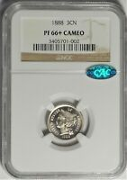 1888 3CN NGC PF 66 CAMEO CAC GEM PLUS PROOF THREE CENT NICKEL TYPE COIN