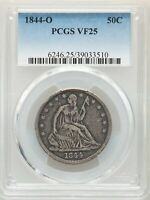 1844 O 50C SEATED HALF DOLLAR PCGS VF25
