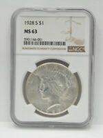 1928 S UNITED STATES PEACE DOLLAR SILVER COIN NGC MS 63  847