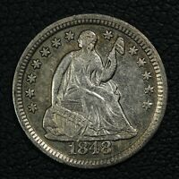 1848 SEATED LIBERTY SILVER HALF DIME   CLEANED