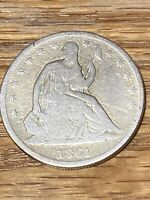 1861 SEATED LIBERTY HALF DOLLAR KEY CIVIL WAR DATE PHILADELP