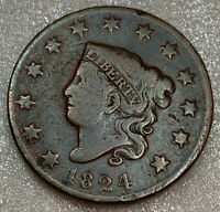 1824 MATRON HEAD LARGE CENT, VG  GOOD SHIPS FREE WITH FIVE ITEMS A BOX