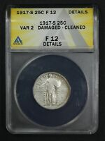 1917 S TYPE 2 STANDING LIBERTY SILVER QUARTER ANACS F 12 DETAILS