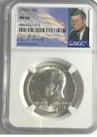 1970 D JFK 90  SILVER HALF DOLLAR. NGC MINT STATE 64. SIGNATURE LABEL. KEY DATE