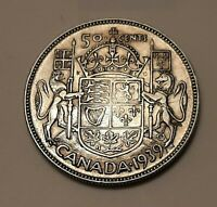 1939 CANADA 50 CENTS COIN  80  SILVER    KING GEORGE VI