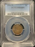 1916-D 1C LINCOLN WHEAT CENT PCGS MINT STATE 64 BN -  LINCOLN