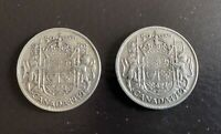 2 1940 CANADA SILVER 50 CENT COINS  SILVER VALUE INCREASING