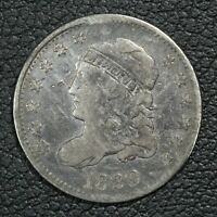 1829 CAPPED BUST SILVER HALF DIME - CLEANED