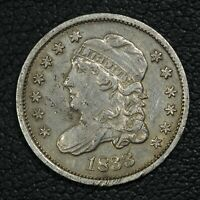 1833 CAPPED BUST SILVER HALF DIME - CLEANED