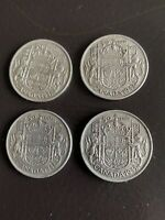 LOT OF 4 1943 CANADA SILVER 50 CENT COINS  SILVER VALUE INCR