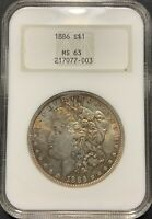 1886 $1 MORGAN SILVER DOLLAR NGC MINT STATE 63 - SUPER  OLD FATTY HOLDER