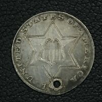 1858 SILVER THREE CENT PIECE - CLEANED