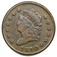 1810 S-282 R-2 CLASSIC HEAD LARGE CENT COIN 1C