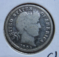 1905-P SILVER BARBER DIME-CLEANED?
