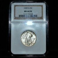 1929-S STANDING LIBERTY QUARTER  NGC MINT STATE 64-FH  25C FULL HEAD UNC SLQ TRUSTED
