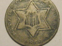 1856 TY II THREE CENT SILVER PIECE VG DETAIL 75 SILVER