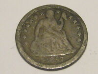 1857-P SEATED LIBERTY DIME VG 90 SILVER