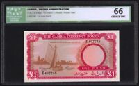 GAMBIA 1 POUND ND 1965 P2A ICG CHOICE UNCIRCULATED 66