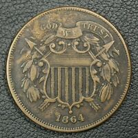 1864 LARGE MOTTO COPPER TWO CENT PIECE