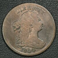 1804 SPIKED CHIN DRAPED BUST COPPER HALF CENT - CLEANED