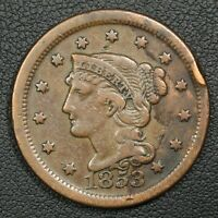 1853 BRAIDED HAIR COPPER LARGE CENT - RIM NICK