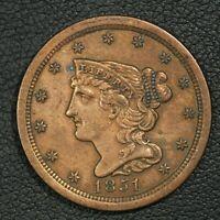1851 BRAIDED HAIR COPPER HALF CENT - CLEANED