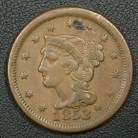 1853 BRAIDED HAIR COPPER LARGE CENT - OBVERSE DAMAGE