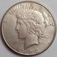 1923-S SILVER PEACE DOLLAR -  LOOKING BETTER DATE - DECENT LUSTER REMAINING