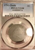 1793 FLOWING HAIR CHAIN CENT AMERICA MONSTER RARITY PCGS VG08  WOW  AF