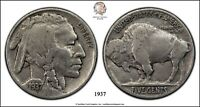 1937 BUFFALO NICKEL INDIAN HEAD AVERAGE CIRCULATED CONDITION RAW
